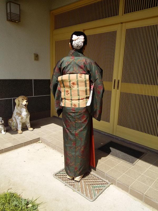 深緑の大島紬に、茶色系の講師の名古屋帯